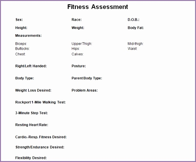 Personal trainer form you can and print