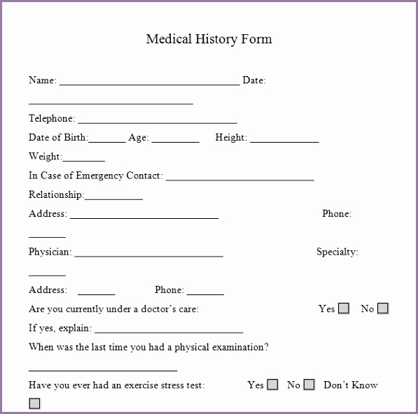 Medical history form for personal trainers