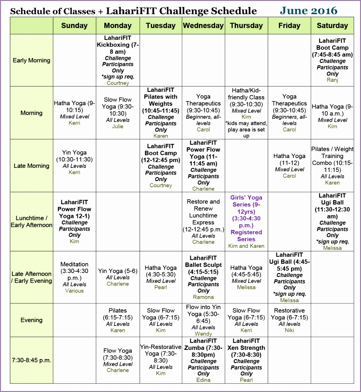 north delta yoga class schedule