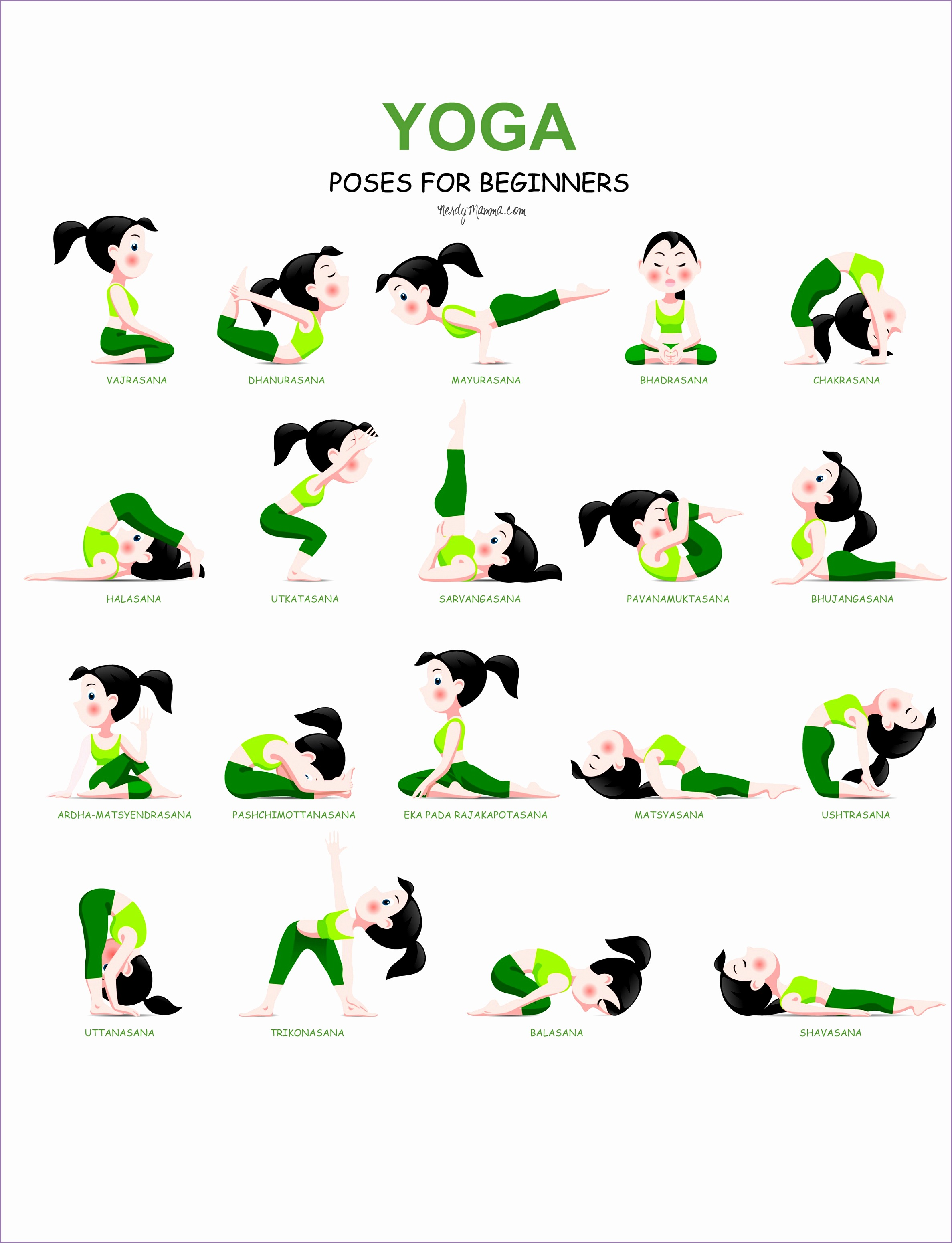 Free printable showing yoga poses for beginning yogi