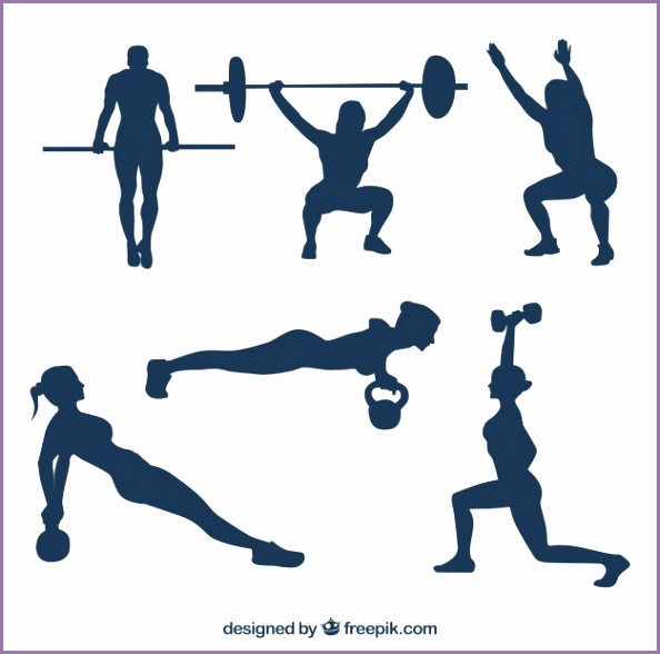 Collection of people practicing crossfit silhouettes Free Vector