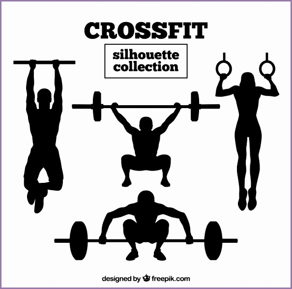 Crossfit silhouette collection Free Vector