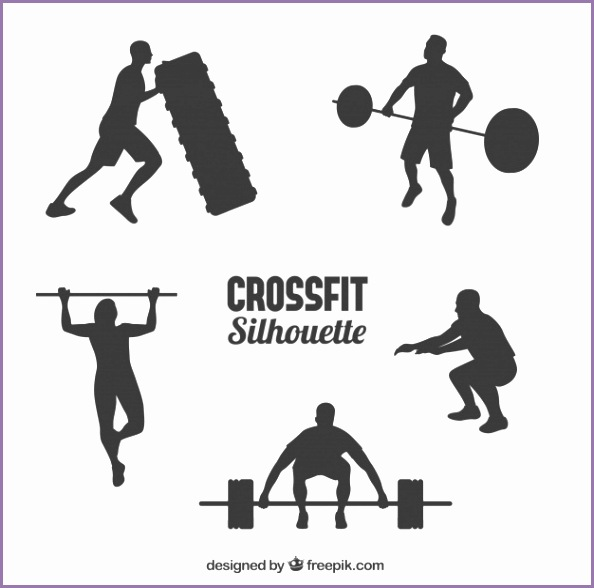 Crossfit man silhouettes collecti Free Vector