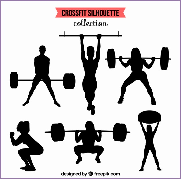 silhouettes collection of people doing crossfit Free Vector