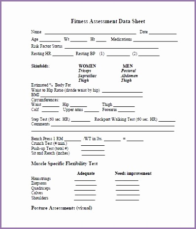 printable fitness assessment forms
