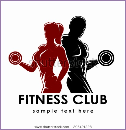 Fitness club logo or emblem with woman and man silhouettes Woman and Man holds dumbbells