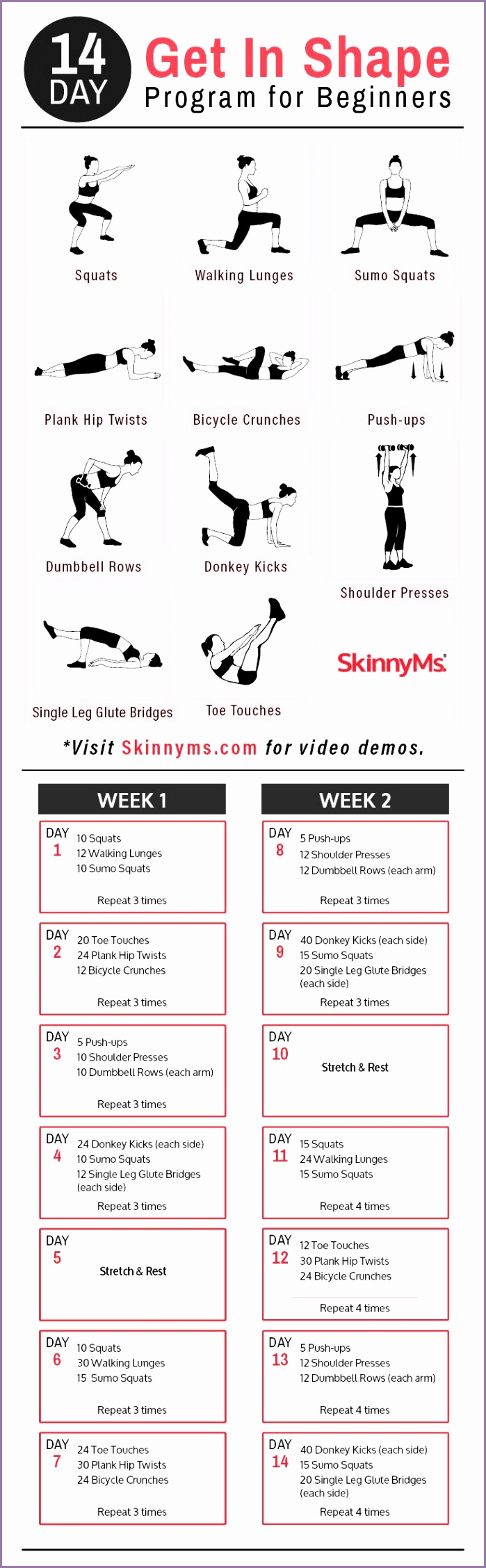 14 Day Get In Shape Program for Beginners