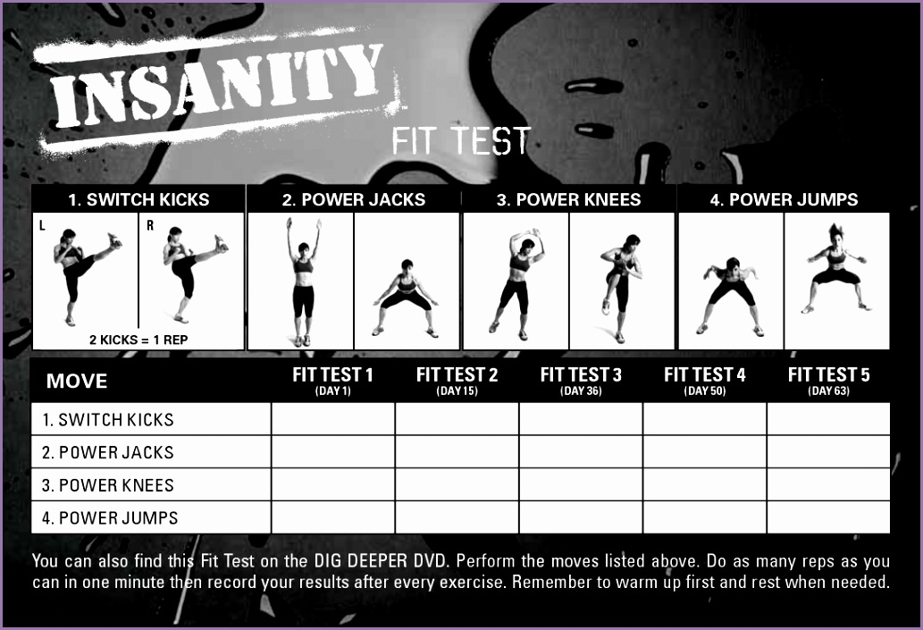 Insanity Fit Test Worksheet