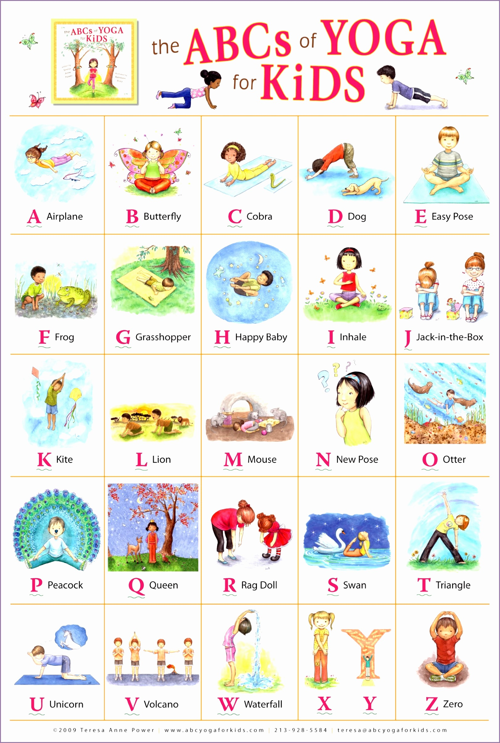Bright image throughout kids yoga poses printable