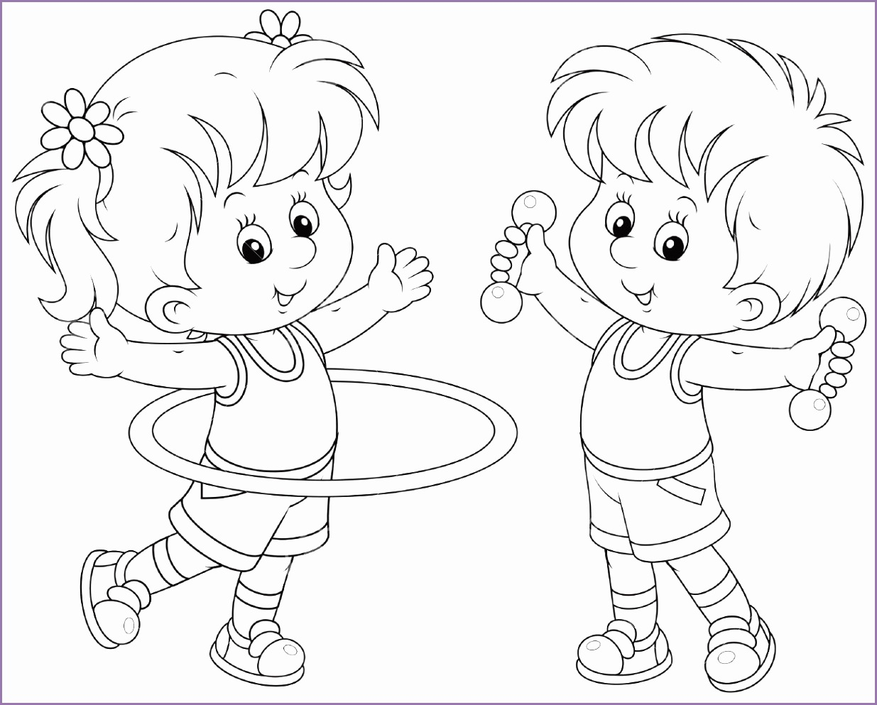 girl and boy doing gymnastic exercises Stock Vector