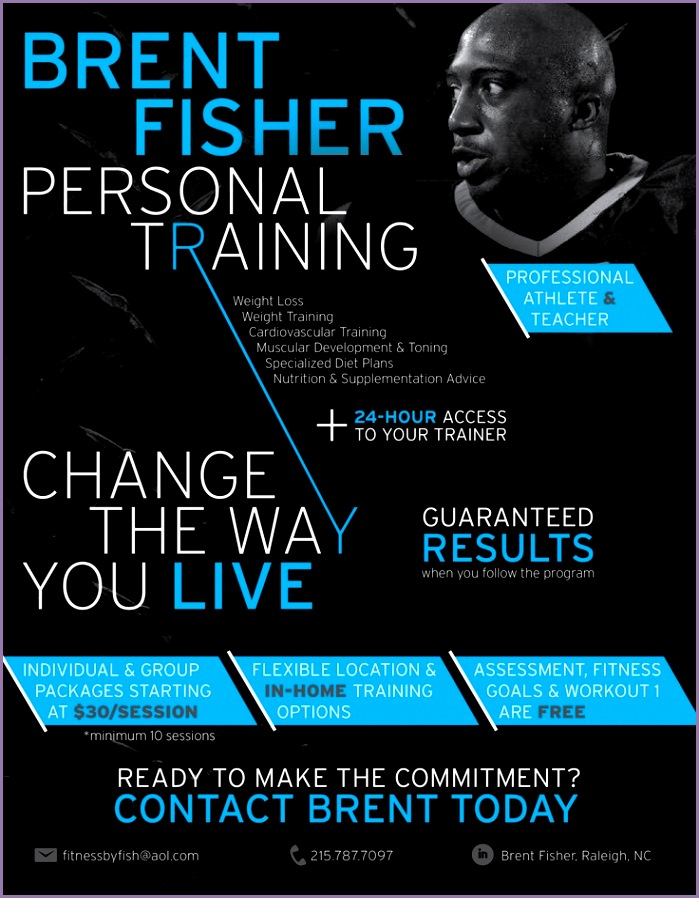 Personal Trainer flyer Fitness by Fish Brent Fisher Personal Training by Kaitlyn Cook