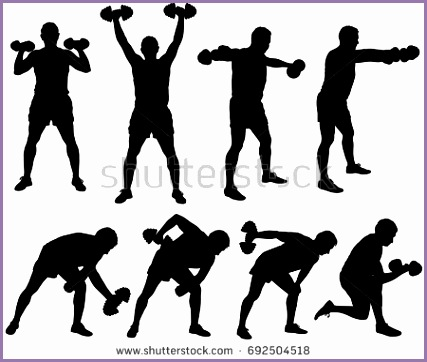 Silhouette of man working out with dumbbells Icons of boy doing fitness exercises with weights