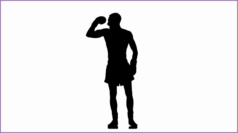 Black silhouette on white background Boxer demonstrates all his muscles 4K stock footage clip