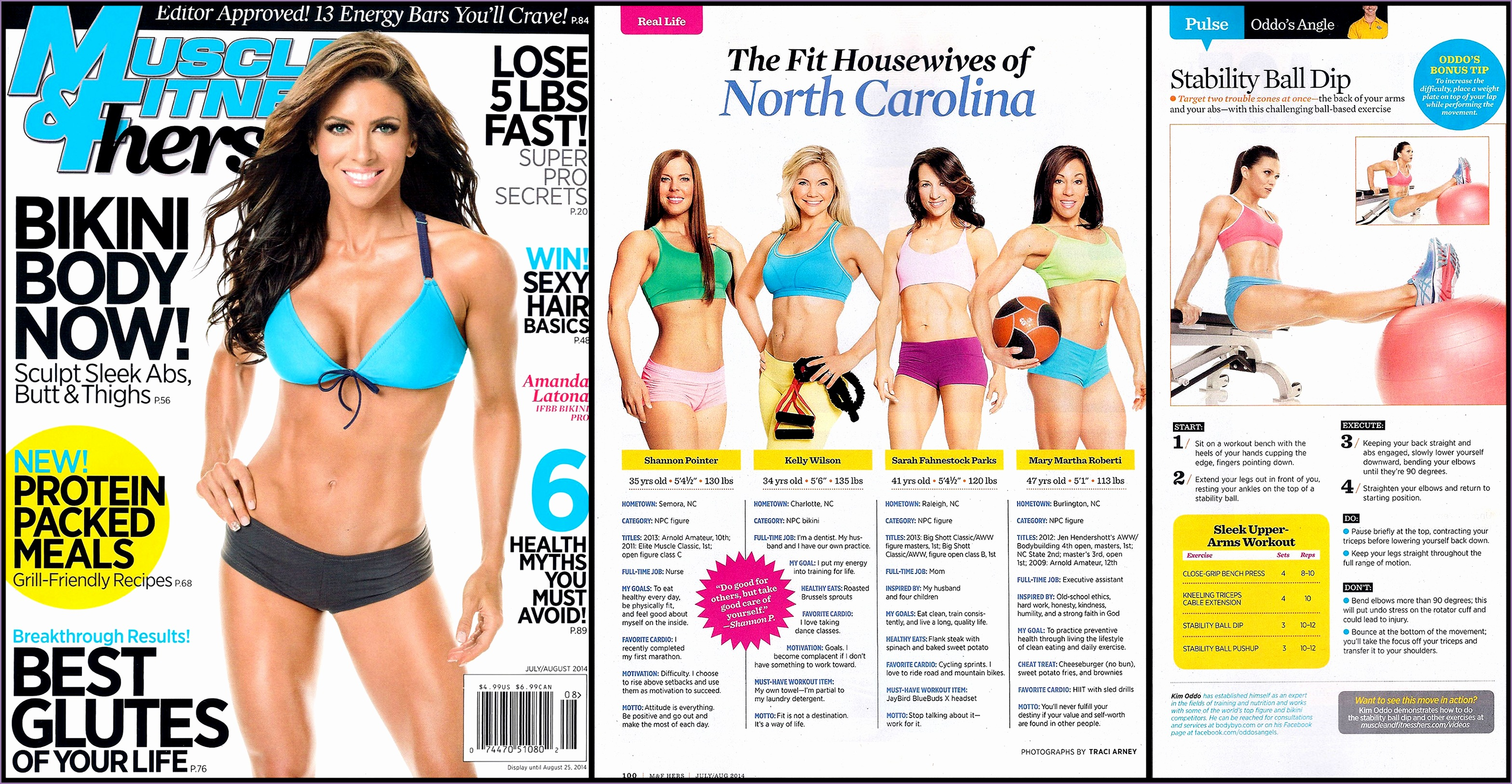 Muscle & Fitness Hers Magazine July August Issue Featuring our Jaco Shorty Shorts Zweet Sport