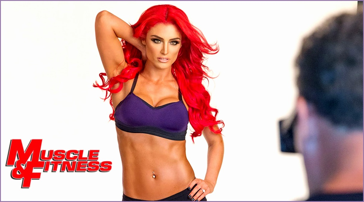 "Eva Marie on the set of her ""Muscle & Fitness Hers"" cover shoot January 2 2014"