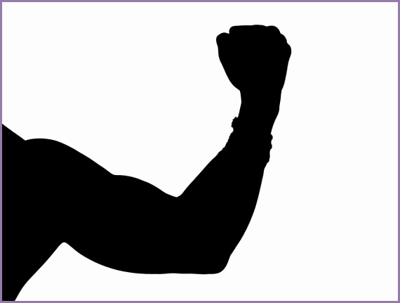 silhouette of a man flexing his muscle