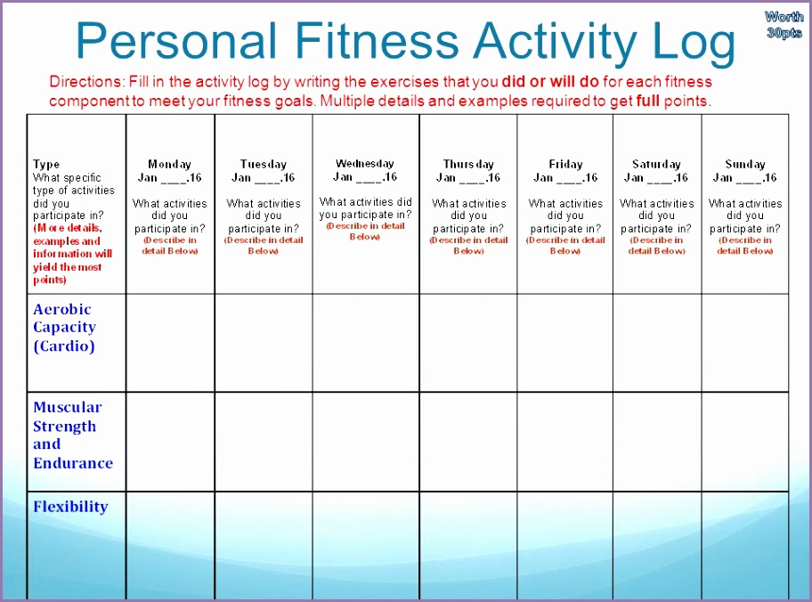 Personal Fitness Plan Activity Log D0kmlc Beautiful E Week Fitness Program 7 Th Grade by Type Full Name Here Period