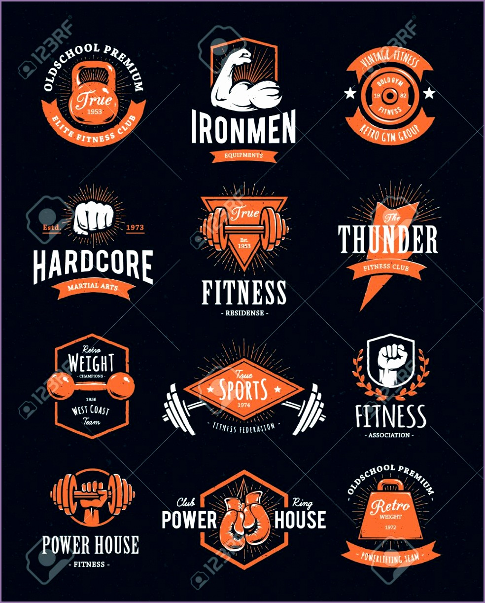 Set of retro styled fitness emblems Vintage gym logo templates Vector illustrations Stock