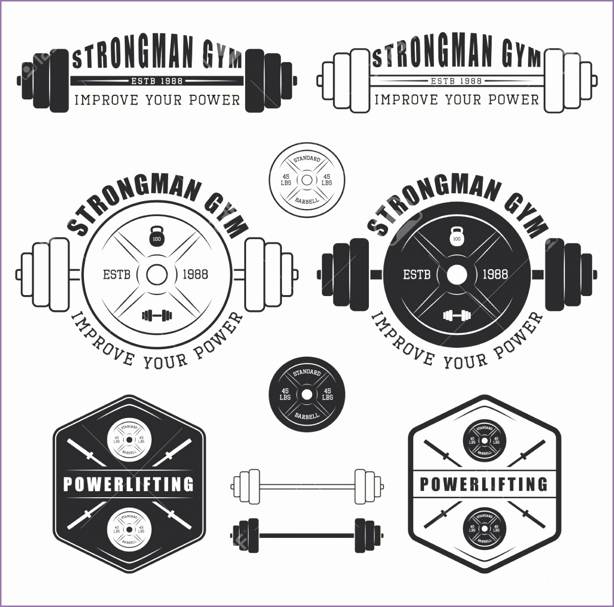 Set of gym logo labels badges and elements in vintage style Stock Vector