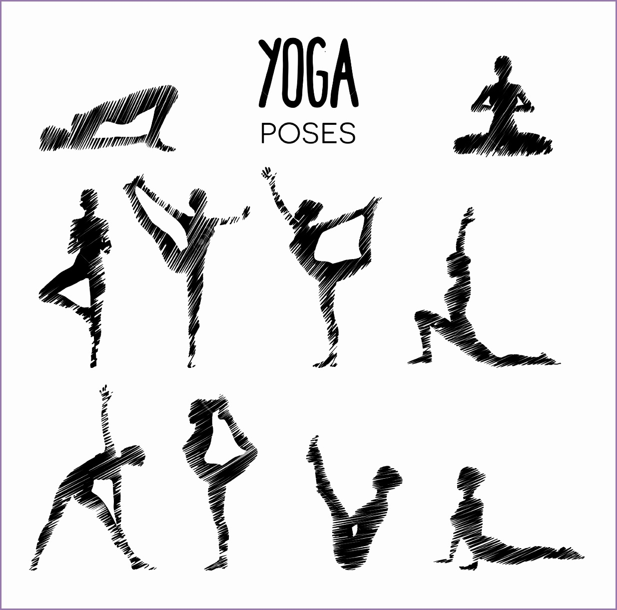 Set of various yoga poses looking like a pencil drawing sketch Stock Vector