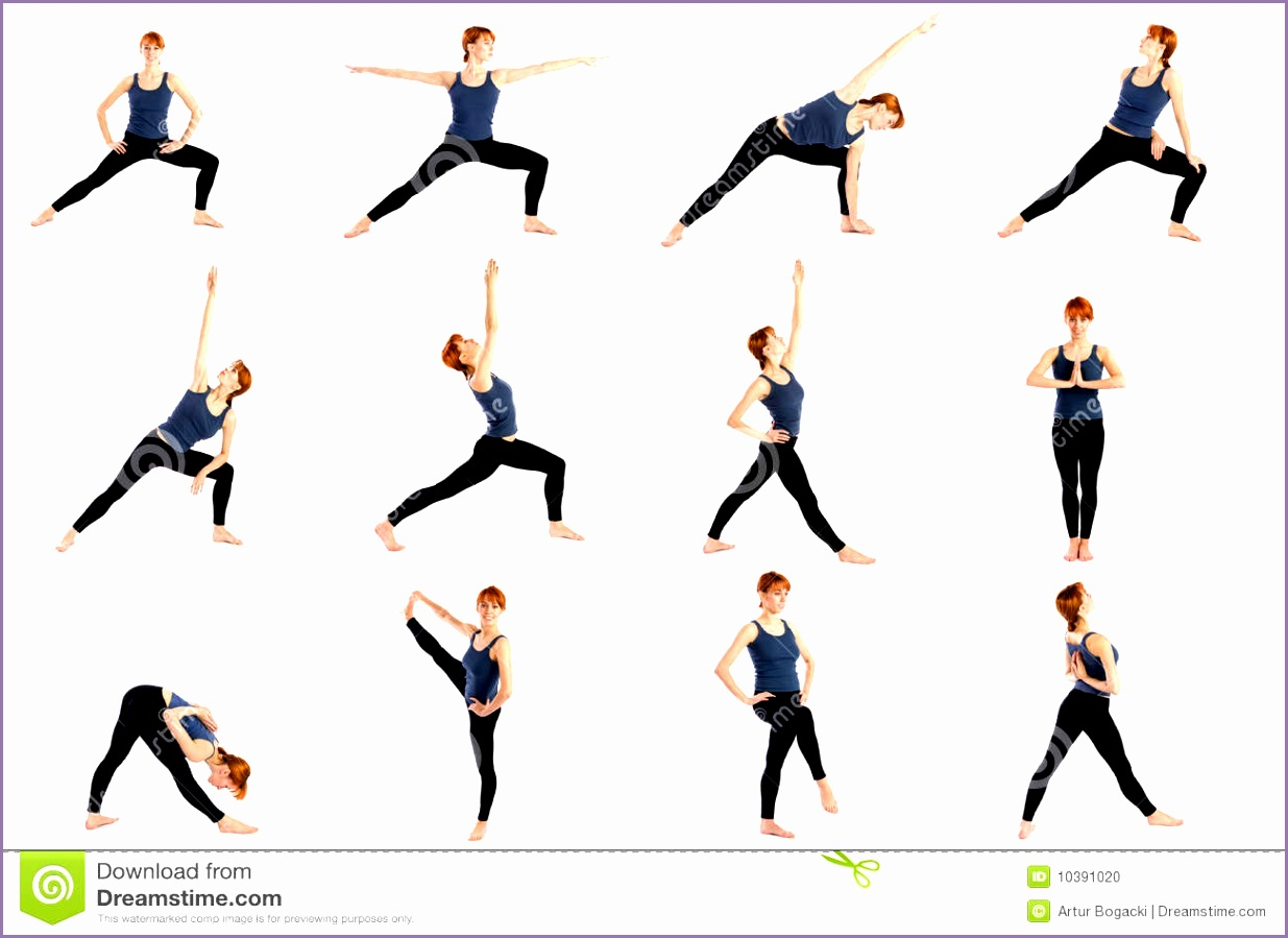 fitness woman various standing yoga poses