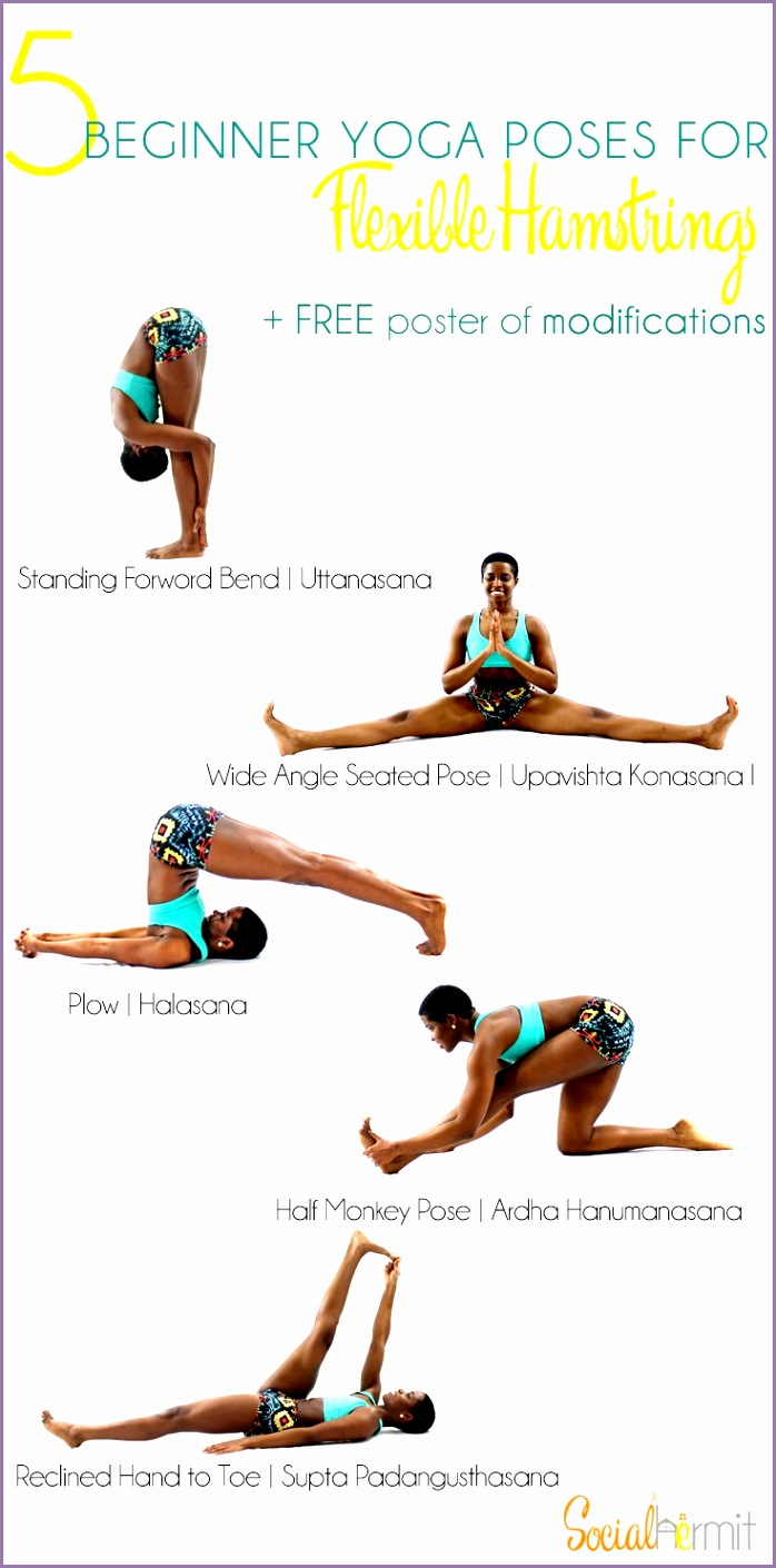 5 Beginner Yoga Poses for Flexible Hamstrings and a FREE poster