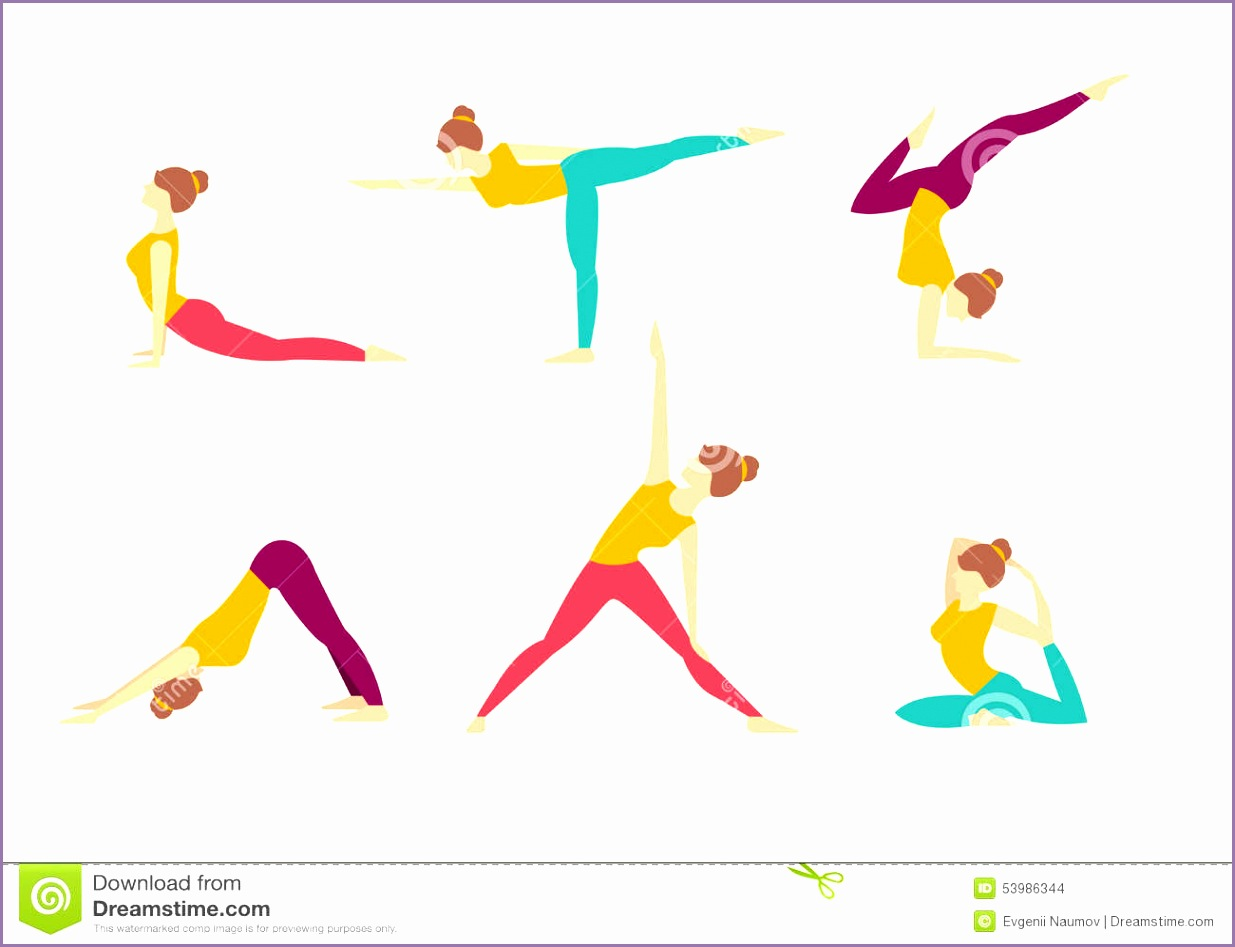 yoga poses vector illustration set