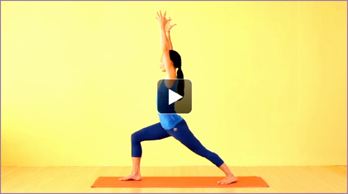 yoga video learn warrior 1 one pose virabhadrasana