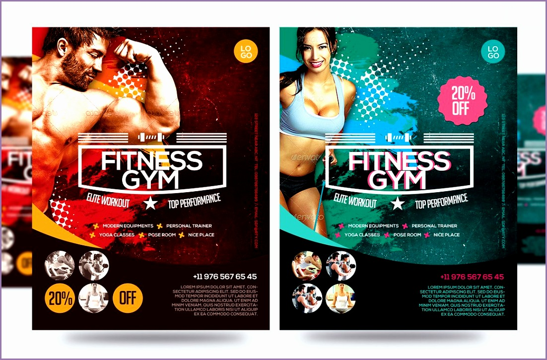 Fitness Flyer Gym Flyer V7 by Satgur Design Studio on creativemarket