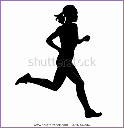 Running woman vector isolated silhouette Run runner active girl
