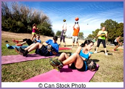Outdoor Bootcamp Fitness Class Group of mature adults