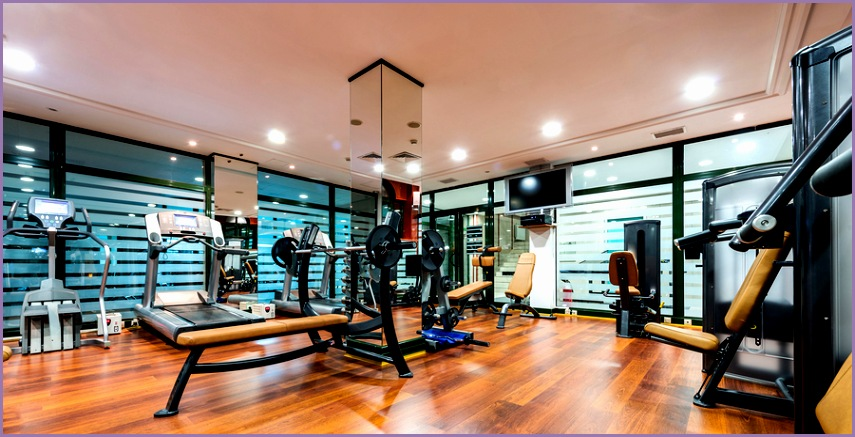 Fitness center design of a weight room