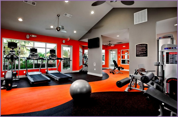 Excellent Home Gym Room Decorating Ideas Well Equipped Home Gym Design Ideas With Orange Theme
