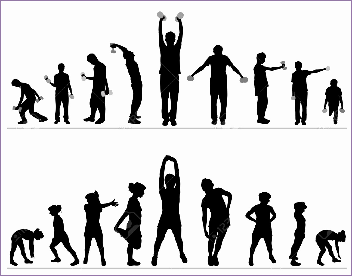 man and woman fitness clipart