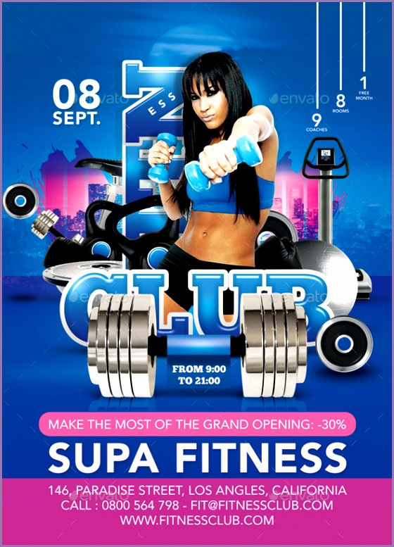Flyer Super Modern Fitness Club Advertising Openin Sports Events