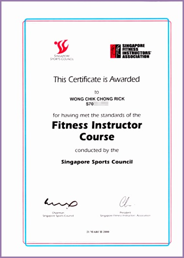 of Rick Wong s fitness instructor certificate