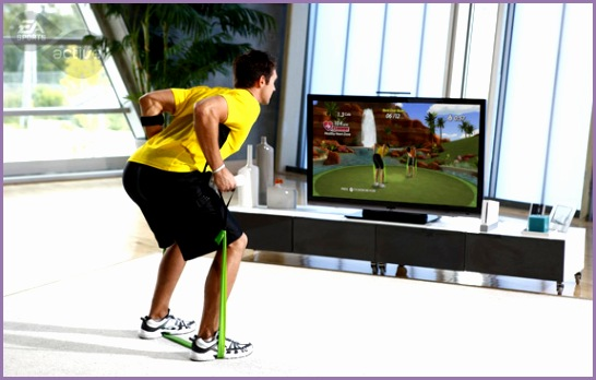 Man Playing Fitness Game