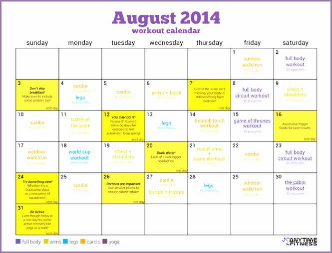 Simplify your summer fitness with this August Workout Calendar With a pre scheduled workout routine you ll be on the right track to a healthy month