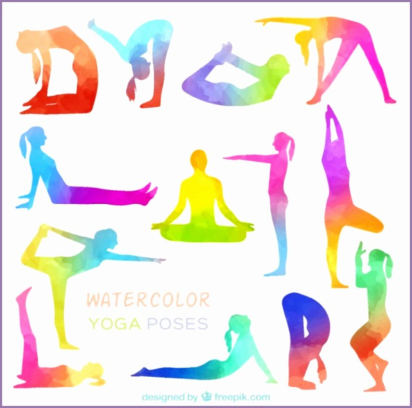 Watercolor yoga poses Free Vector