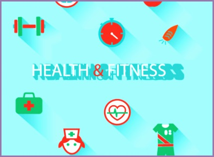 health and fitness icon vector material background