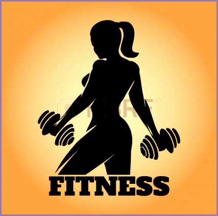 Fitness club and gym banner or poster design Silhouette of athletic woman with dumbbells