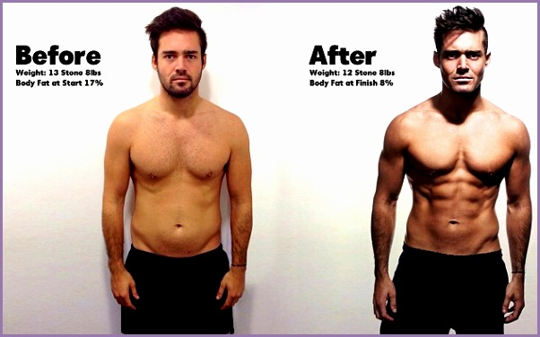 At his peak Spencer Matthews before his Men s Health challenge in November and right