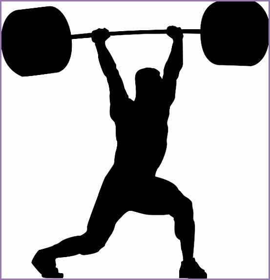 weightlifter with barbell vector art illustration