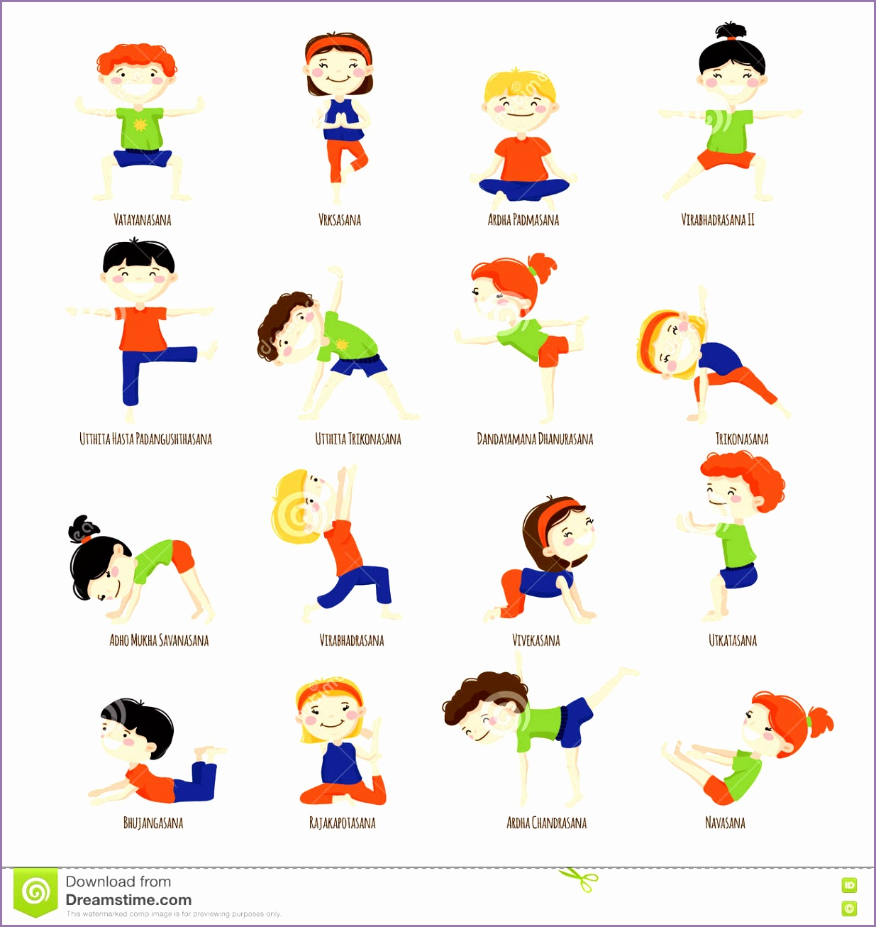 Royalty Free Vector Download Kids Children Yoga Poses