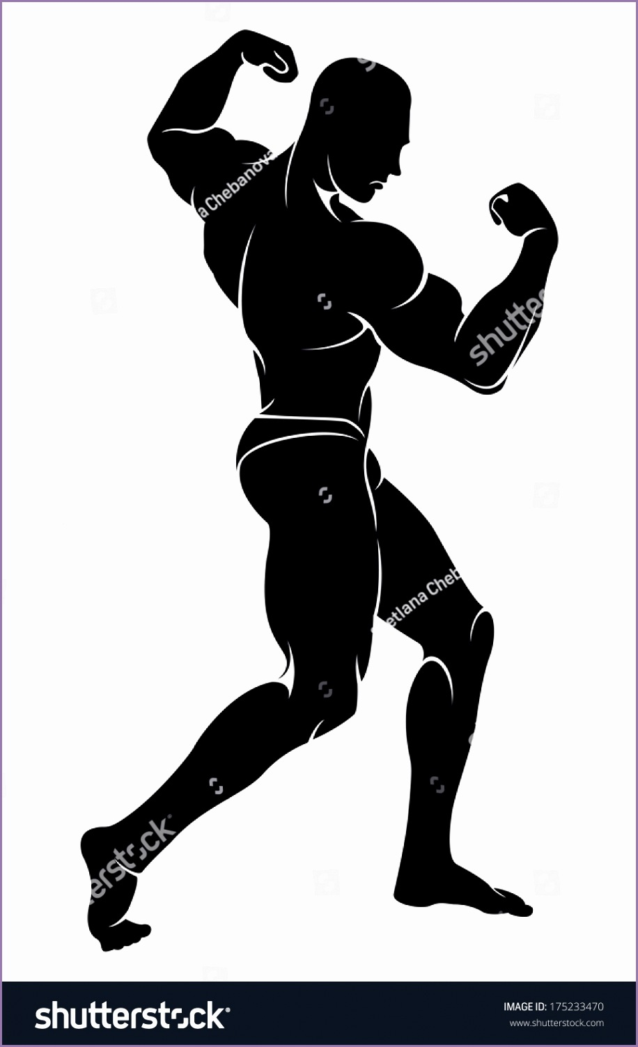 stock vector vector image with bodybuilder silhouette