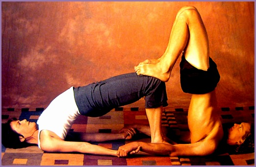Partner Yoga Pose Double Bridge
