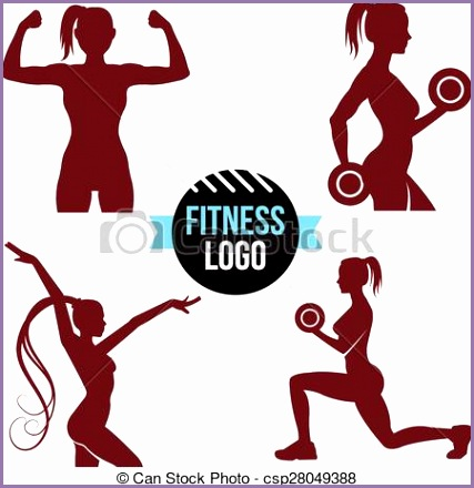 fitness logo set elegant women sil