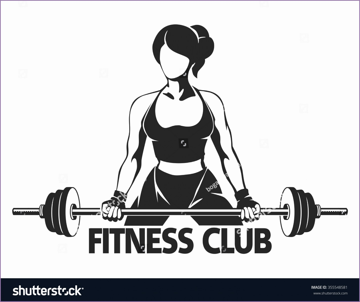 stock vector fitness or gym center emblem athletic woman silhouette with barbell power lifting exercises