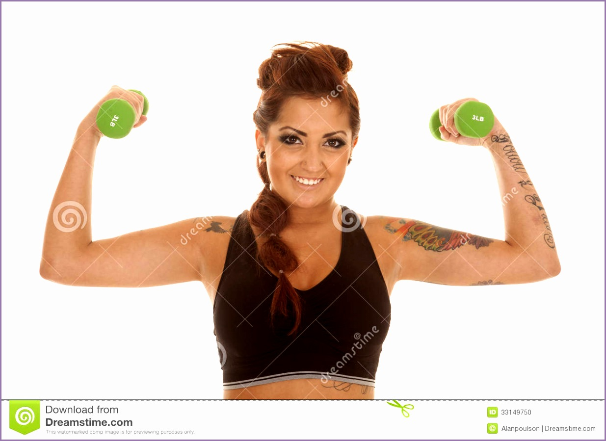 stock photo woman tattoos fitness green weights flex working out image