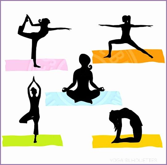 yoga silhouettes digital clipart